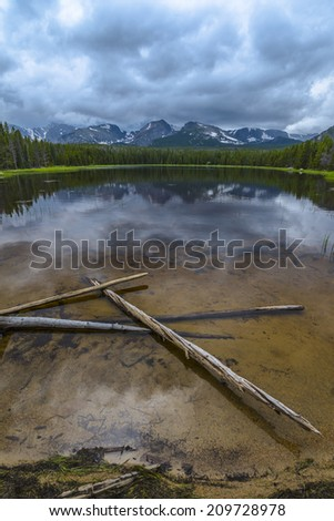 Fallen trees in Bierstadt Lake with view of The Continental Divide Taylor, Hallett Peak, Andrews, Tyndoll Glacier, Flattop Mountain Rockies Colorado  - stock photo