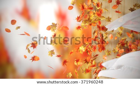 falling and winding Autumn Leaves with curtains background - stock photo