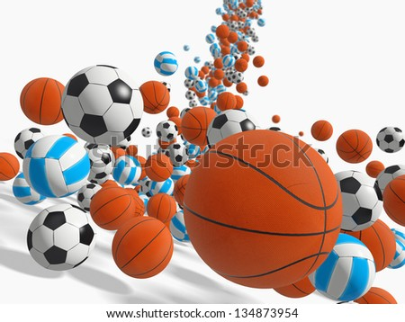 Falling balls.  3D rendered illustration. - stock photo
