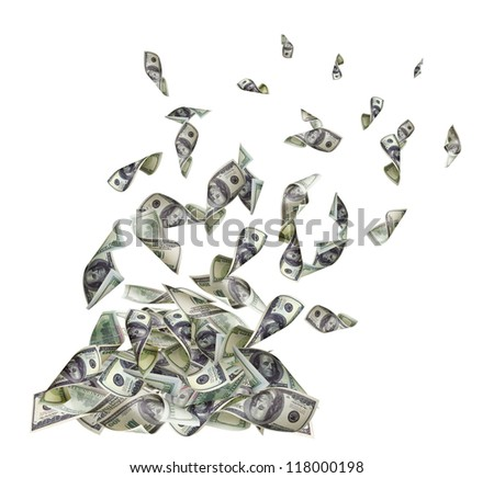 Falling banknotes of dollars - stock photo