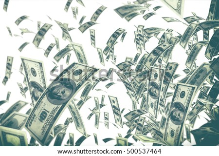 Falling bills isolated on white background. 3d illustration