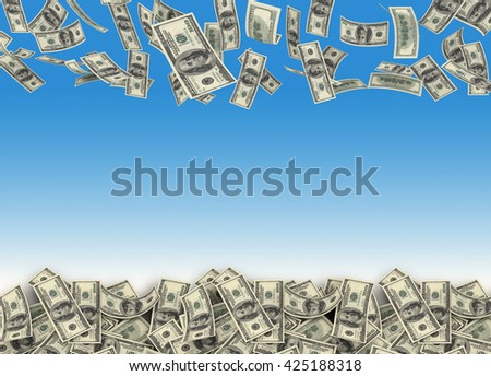 Falling $100 both from front and back like real one from sky. 3d rendering - stock photo