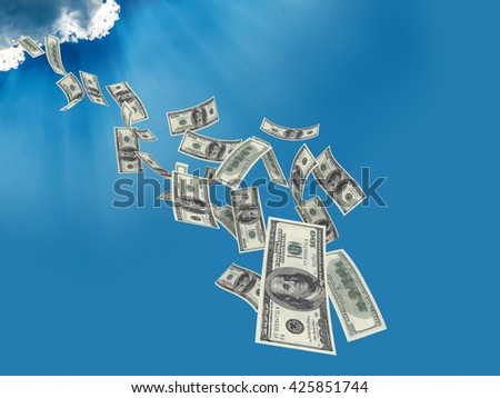 Falling $100 both from front and back like real one from sky. High resolution, sharp 3D rendering along with silver lining - stock photo