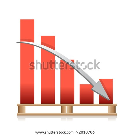 falling cargo shipping sales graph illustration design
