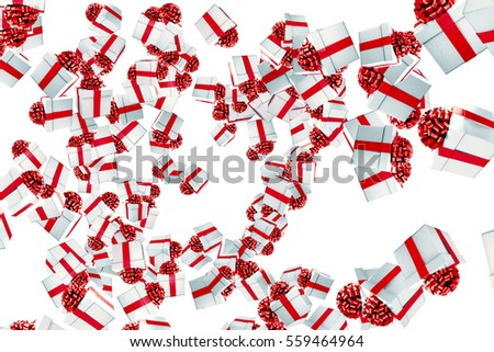 falling christmas gift boxes with explosion on white background, holiday festive concept