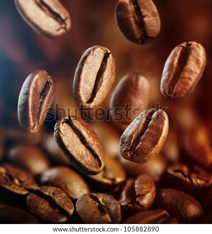 falling coffee beans close up - stock photo