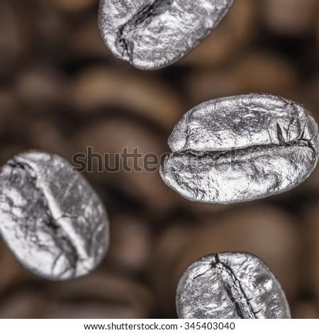 falling coffee beans closeup - stock photo
