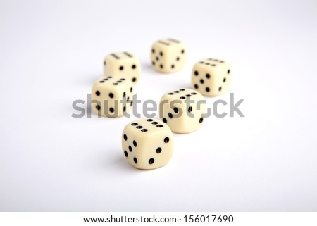 Falling dices isolated on white background