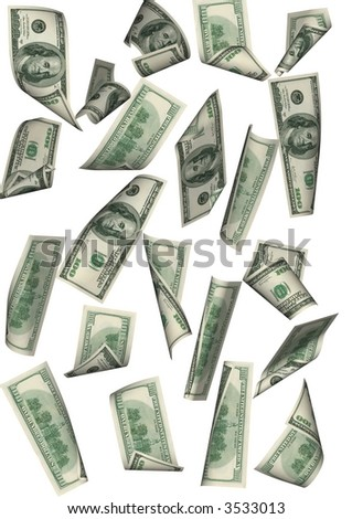 Falling 100 dollar banknotes far between on a white background.