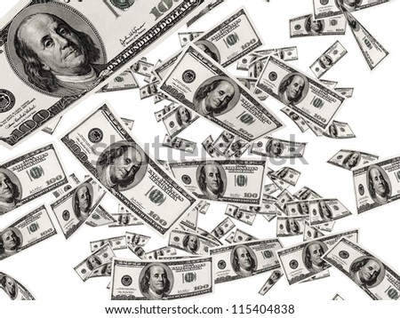 Falling Dollar Bills isolated on white background