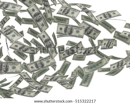 Falling dollar bills isolated on white background. 3D render