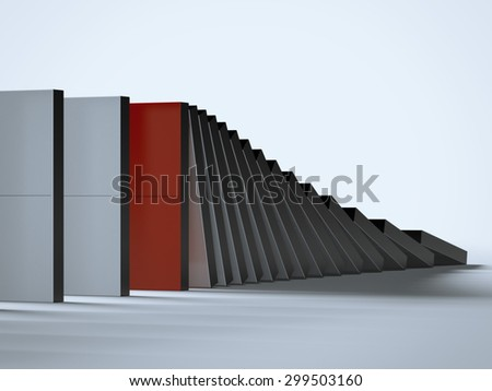 Falling dominoes and red one - stock photo