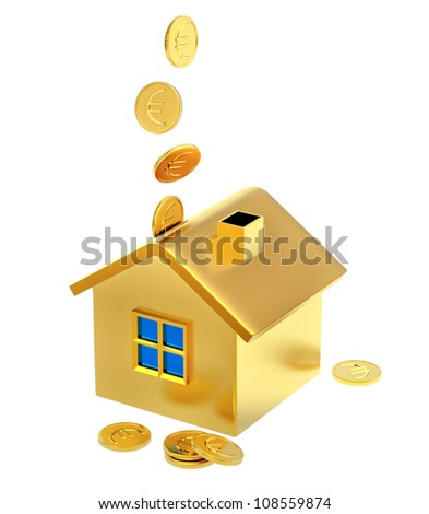 falling down euro coins into a piggy bank in the form of a gilded house as a symbol of the accumulation - stock photo