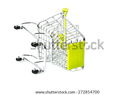 falling down shopping trolley, isolated on white background - stock photo