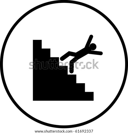 falling down the stairs symbol - stock photo