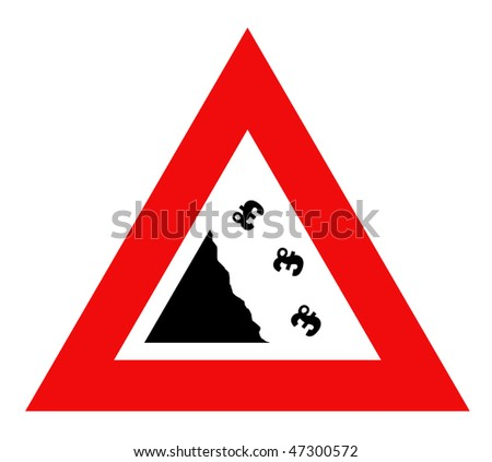 Falling English pounds Sterling currency sign in red warning triangle, isolated on white background.
