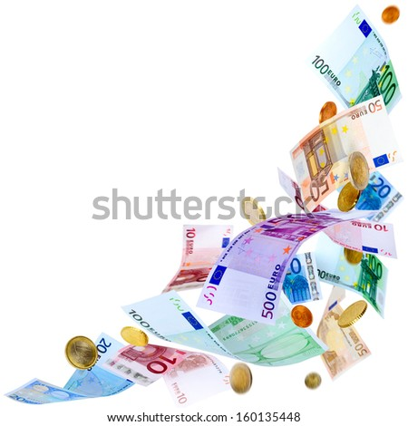 Falling Euro banknotes and coins isolated on white  - stock photo