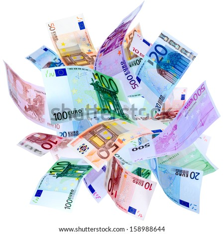 Falling Euro banknotes isolated on white  - stock photo