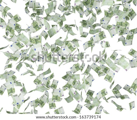 Falling 100 euro bills  - stock photo