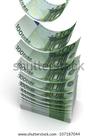 Falling Euro (isolated with clipping path) - stock photo