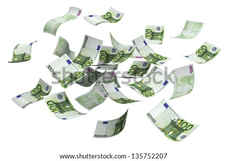 Falling euro money currency on a white background