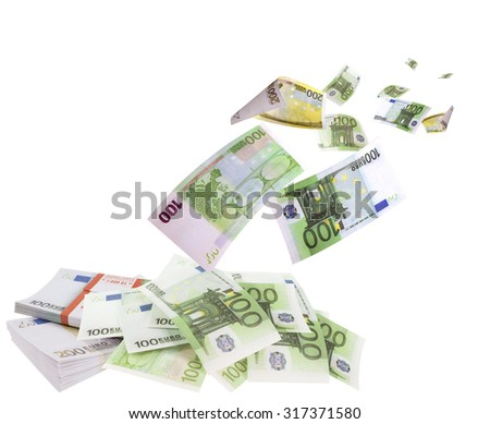 Falling euros isolated on white background
