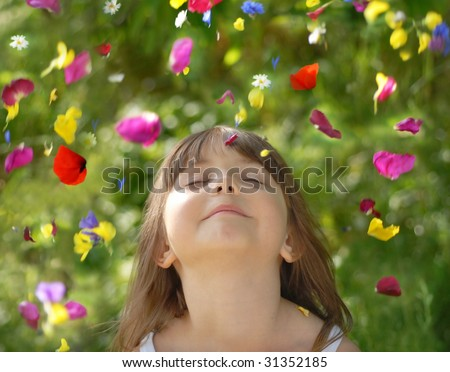 Falling flowers - stock photo