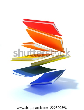 Falling folder with muticolor - stock photo
