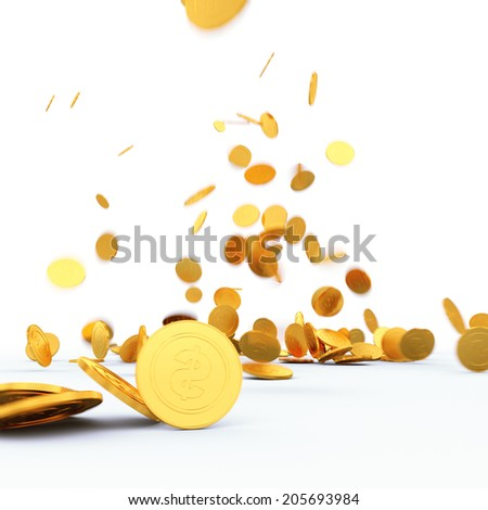Falling golden dollar coins on a white background
