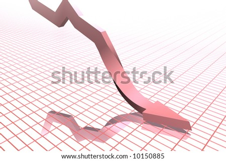 Falling graph - stock photo