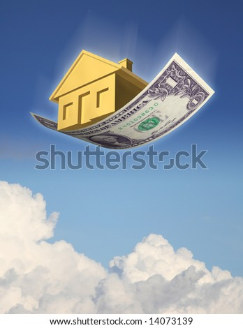 FALLING HOME PRICES A golden house falling from the sky on a dollar bill, against sky and clouds. 3D photo illustration - stock photo