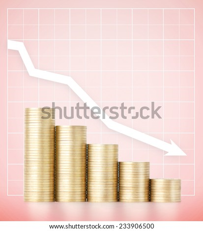 Falling incomes. Savings and careful spending money concept, pink background - stock photo