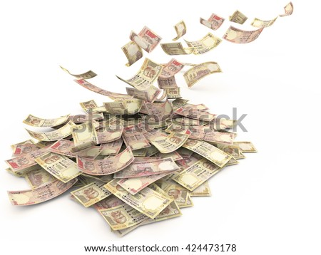 Falling Indian currency Rs.1000, Rs.500 Banknote, isolated on white background. High resolution, sharp 3D rendering. - stock photo