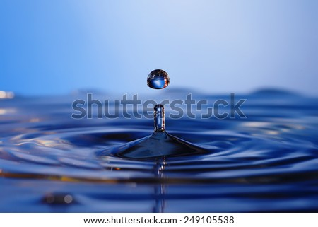 Falling into water droplets - stock photo