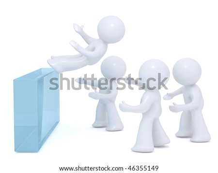 Falling intro safe hands-corporate games - stock photo