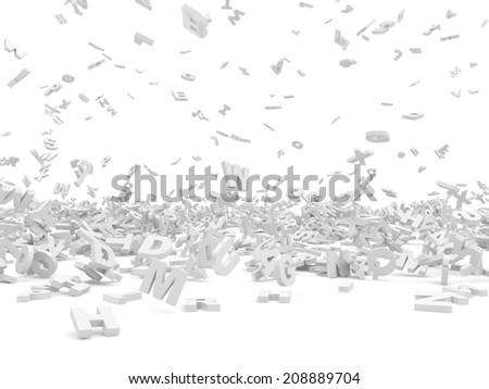 Falling Letters isolated on white background. Education Concept - stock photo