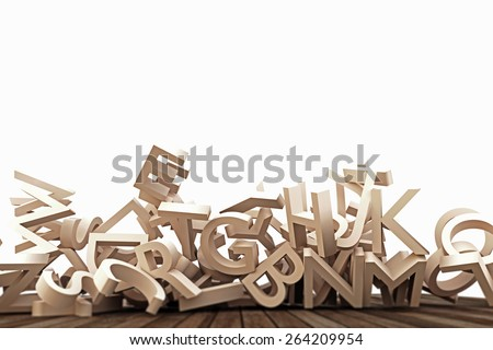 falling letters on wooden floor - stock photo