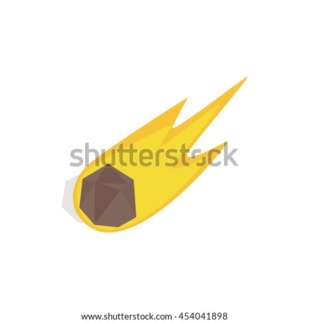 Falling meteor with long tail icon in isometric 3d style on a white background - stock photo