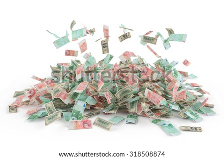 Falling money (dollars, euros, pounds) against white background. High quality render - stock photo