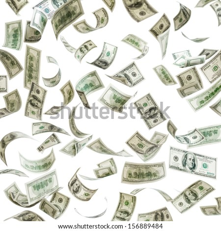Falling money, hundred dollar bills - stock photo