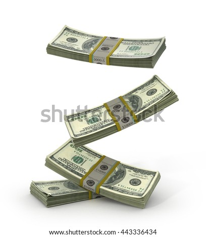 Falling Money Stack - Isolated on White Background. 3d illustration