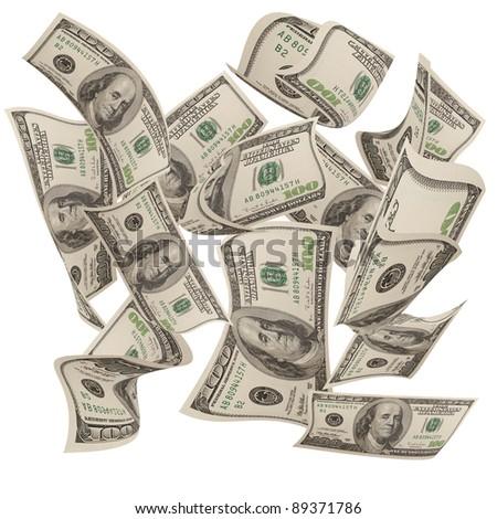 Falling moneys $100 bills isolated on white background - stock photo