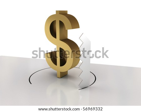 Falling of dollar isolated on white background. High quality 3d render. - stock photo