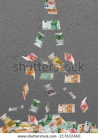 falling of euro currency  - stock photo