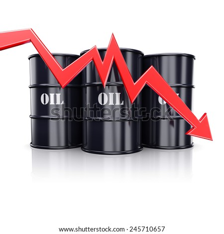Falling oil price. Red arrow graph chart moving down near the barrels with oil. 3d illustration