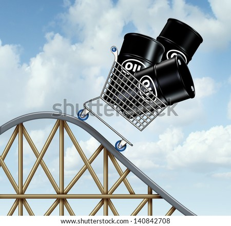 Falling oil prices and plunging fuel costs as a group of oil barrels or steel drum containers in a shopping cart going down on a roller coaster as a business concept of low and unstable energy price. - stock photo
