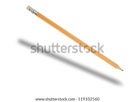 Falling pencil and a separate shadow, isolated on background