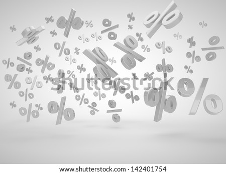 falling procents on a blue background - stock photo