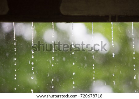 Falling rain from the roof in the holiday morning,feel relaxing in comfort day