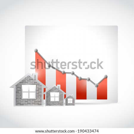 falling real estate business market illustration design over a white background - stock photo